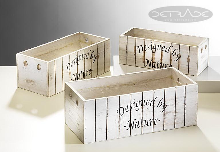 holzkiste zum bepflanzen white washed 3er set. Black Bedroom Furniture Sets. Home Design Ideas