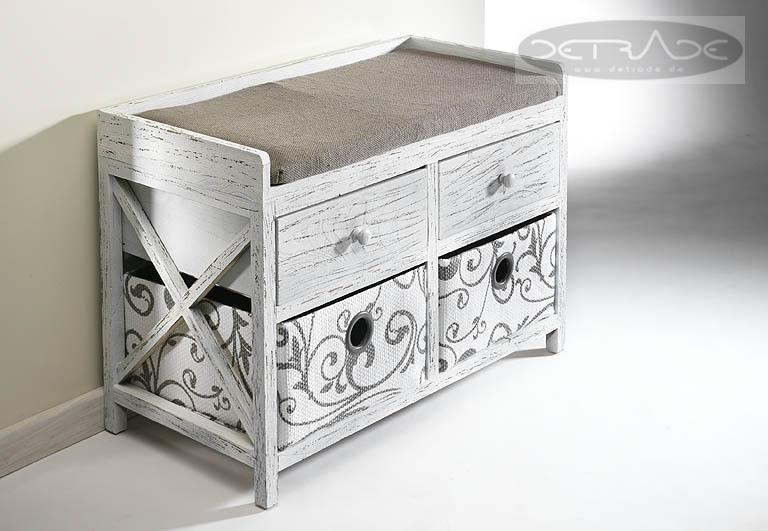 sitztruhe aus holz mit 4 schubladen truhe sitzbank aufbewahrung deko ebay. Black Bedroom Furniture Sets. Home Design Ideas