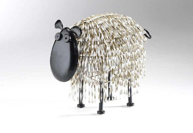 locker deko schaf gro aus metall silberfarben ebay. Black Bedroom Furniture Sets. Home Design Ideas