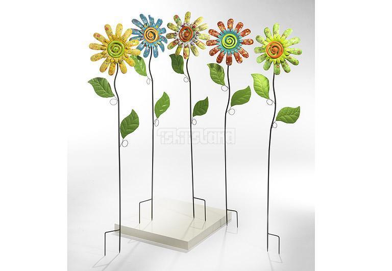 Locker 5er set deko blumen auf stab aus metall ebay for Blumen aus rostigem metall