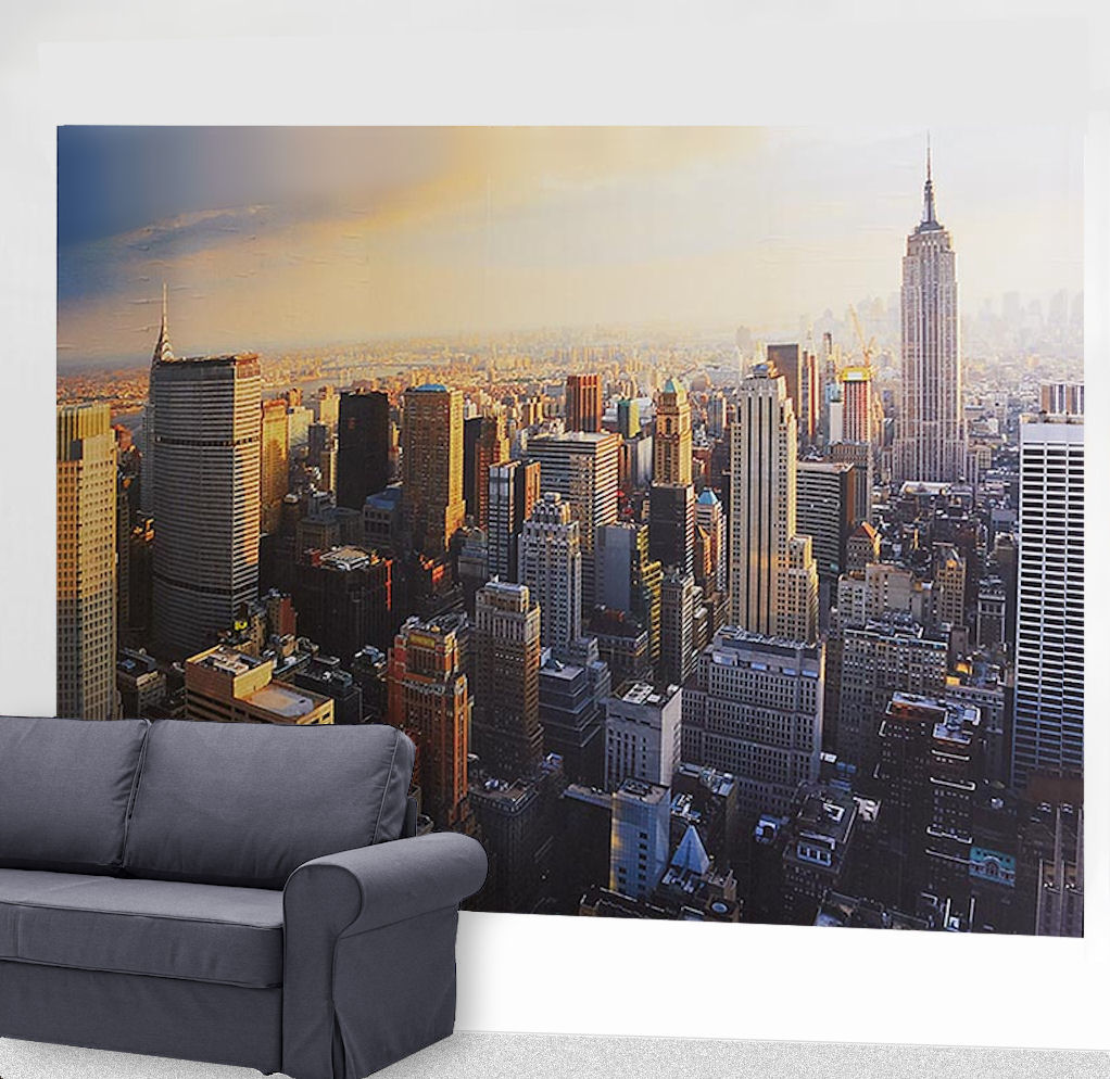 tcm tchibo fototapete new york tapete xxl wandtattoo 16 einzelteile 3 56x2 54 m ebay. Black Bedroom Furniture Sets. Home Design Ideas