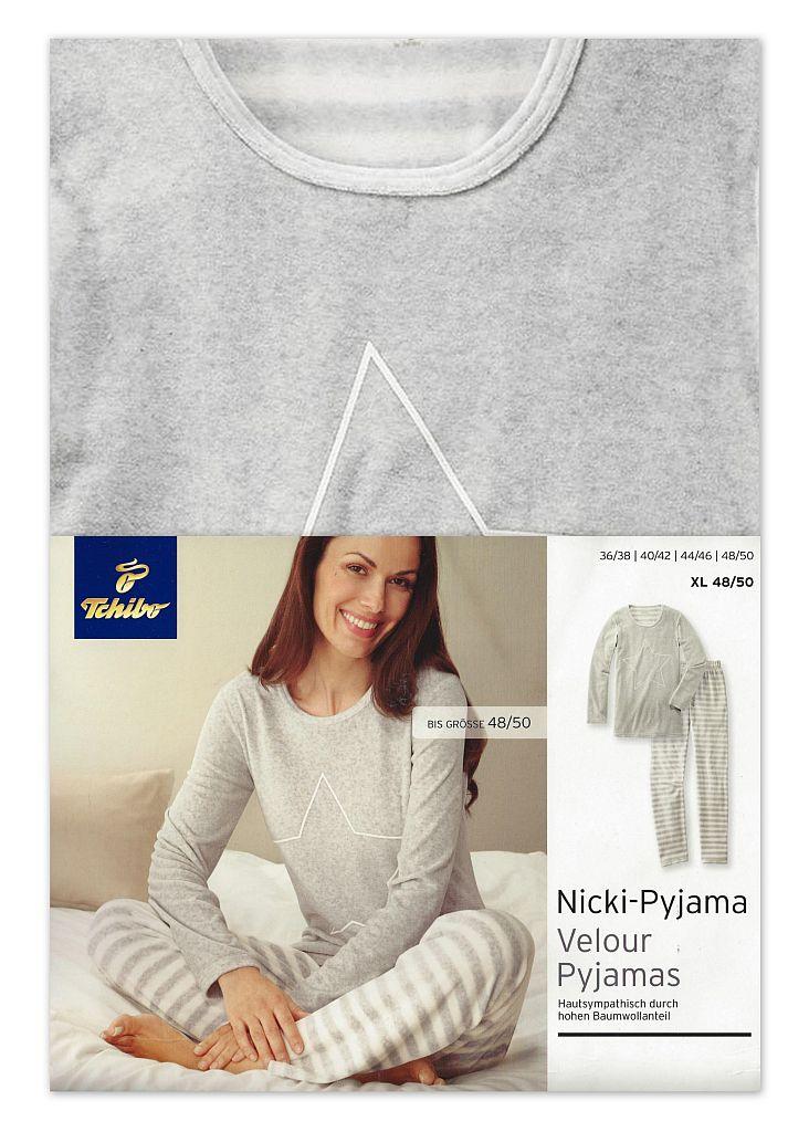 tcm tchibo damen nicki pyjama schlafanzug hellgrau melange. Black Bedroom Furniture Sets. Home Design Ideas