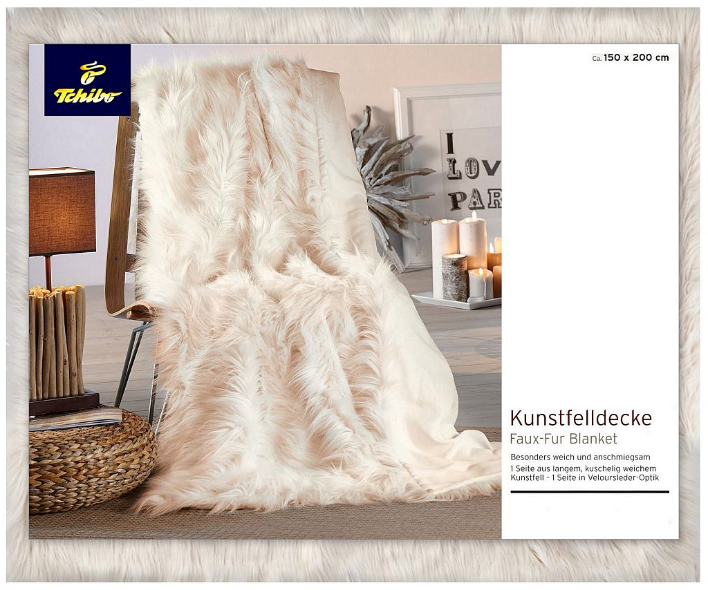 tcm tchibo kunstfelldecke wohndecke kuscheldecke faux fur decke offwhite 150x200 ebay. Black Bedroom Furniture Sets. Home Design Ideas