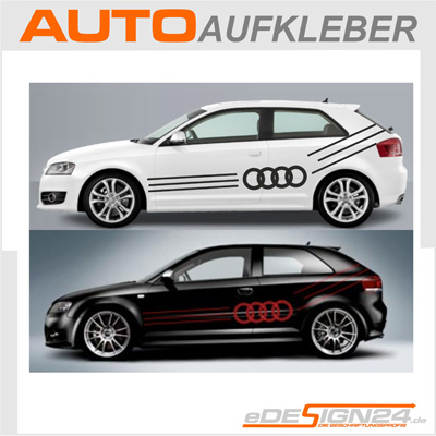 e66 audi ringe auto aufkleber sticker a3 a4 a6 a8 ebay. Black Bedroom Furniture Sets. Home Design Ideas