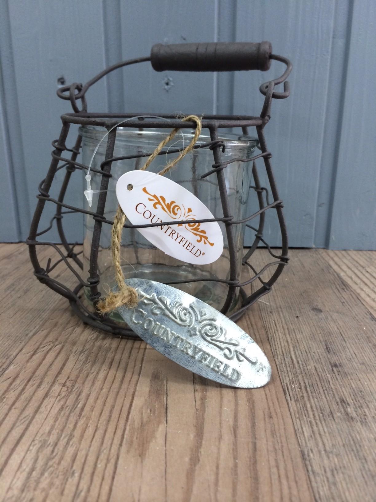 countryfield teelichtglas mit henkelkorb ebay. Black Bedroom Furniture Sets. Home Design Ideas
