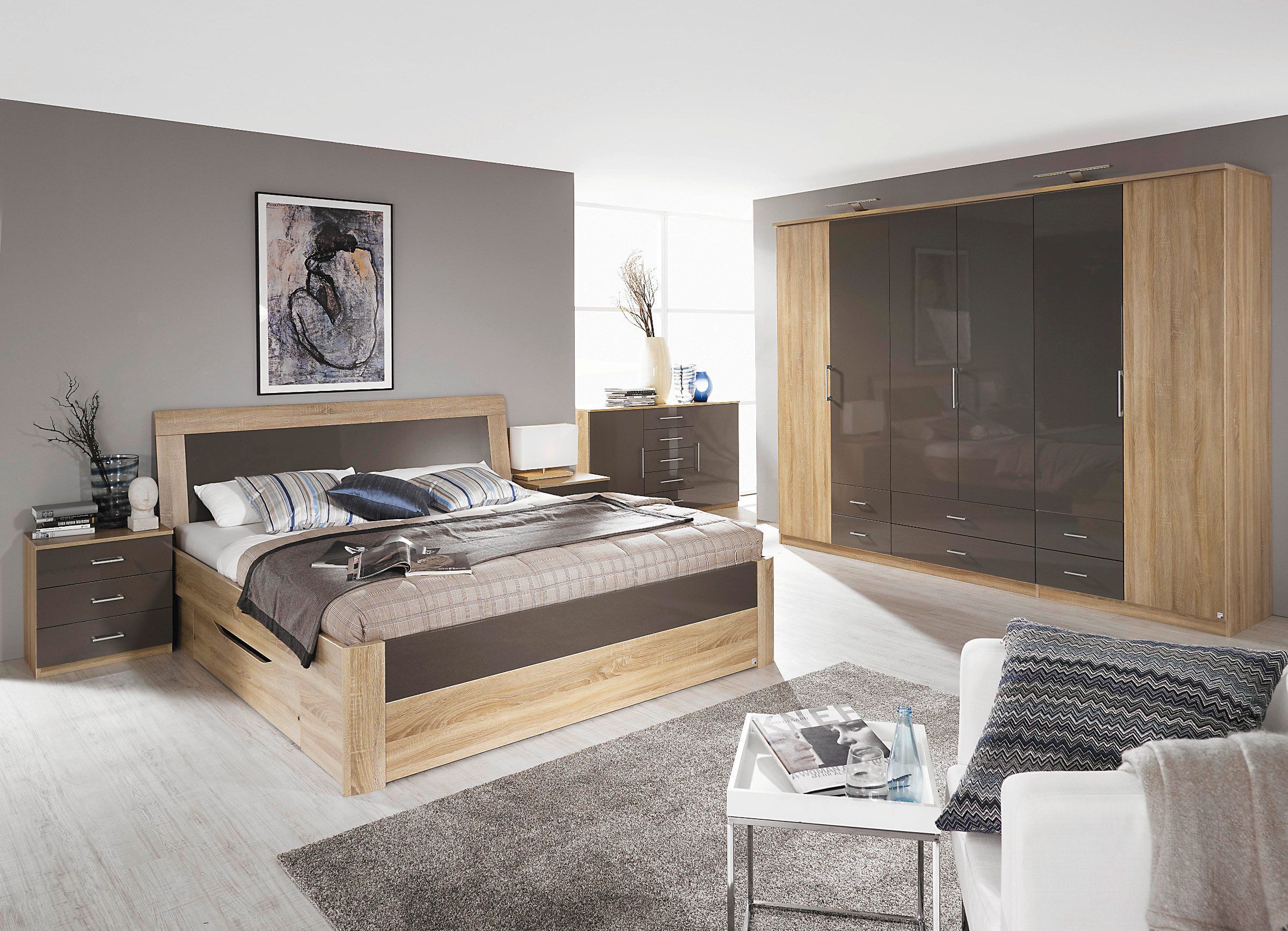 rauch schlafzimmer komplettangebot arona hochglanz ebay. Black Bedroom Furniture Sets. Home Design Ideas