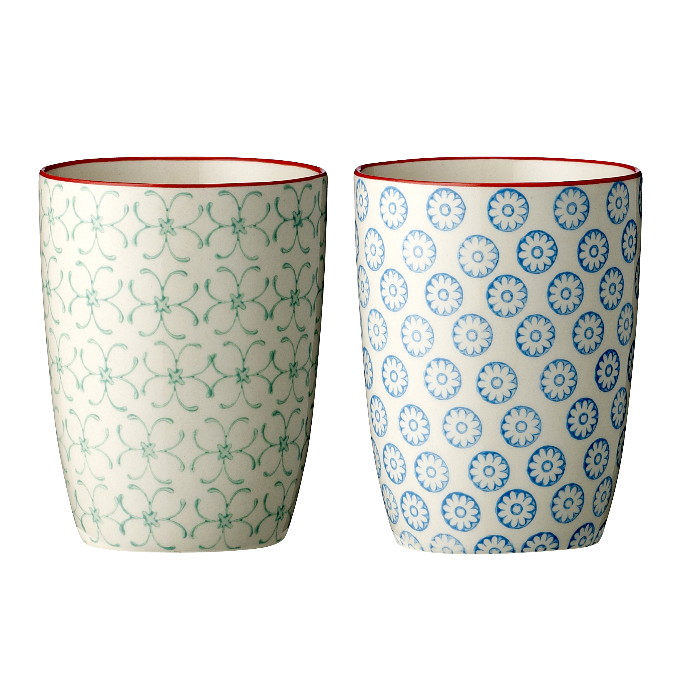bloomingville emma becher tasse kaffeebecher handbemalt porzellan blau gr n ebay. Black Bedroom Furniture Sets. Home Design Ideas