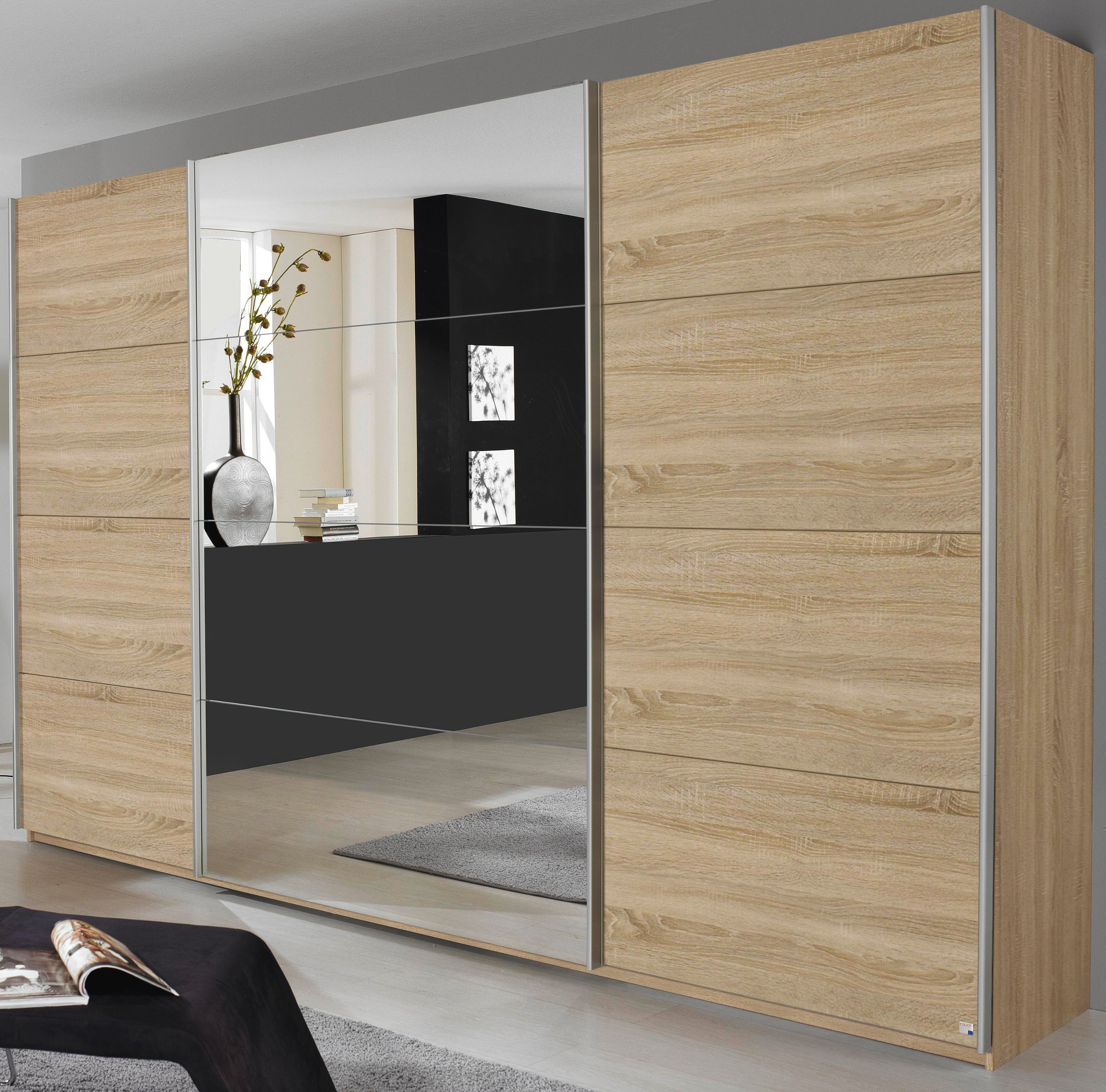 rauch schwebet renschrank quadra eiche sonoma spiegel 5 breiten 2 h hen ebay. Black Bedroom Furniture Sets. Home Design Ideas