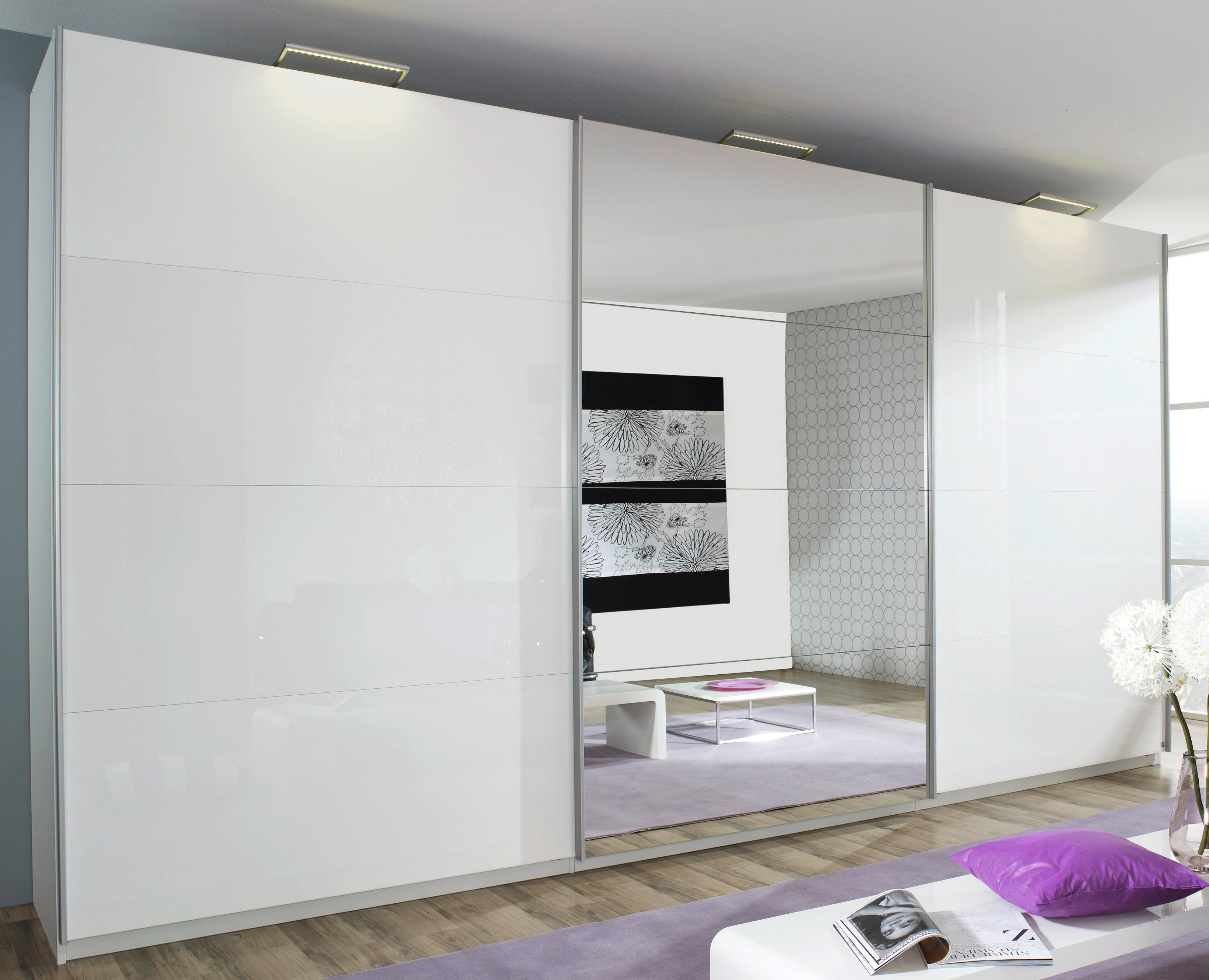 rauch select schwebet renschrank beluga plus hochglanz wei spiegel 7 breiten ebay. Black Bedroom Furniture Sets. Home Design Ideas