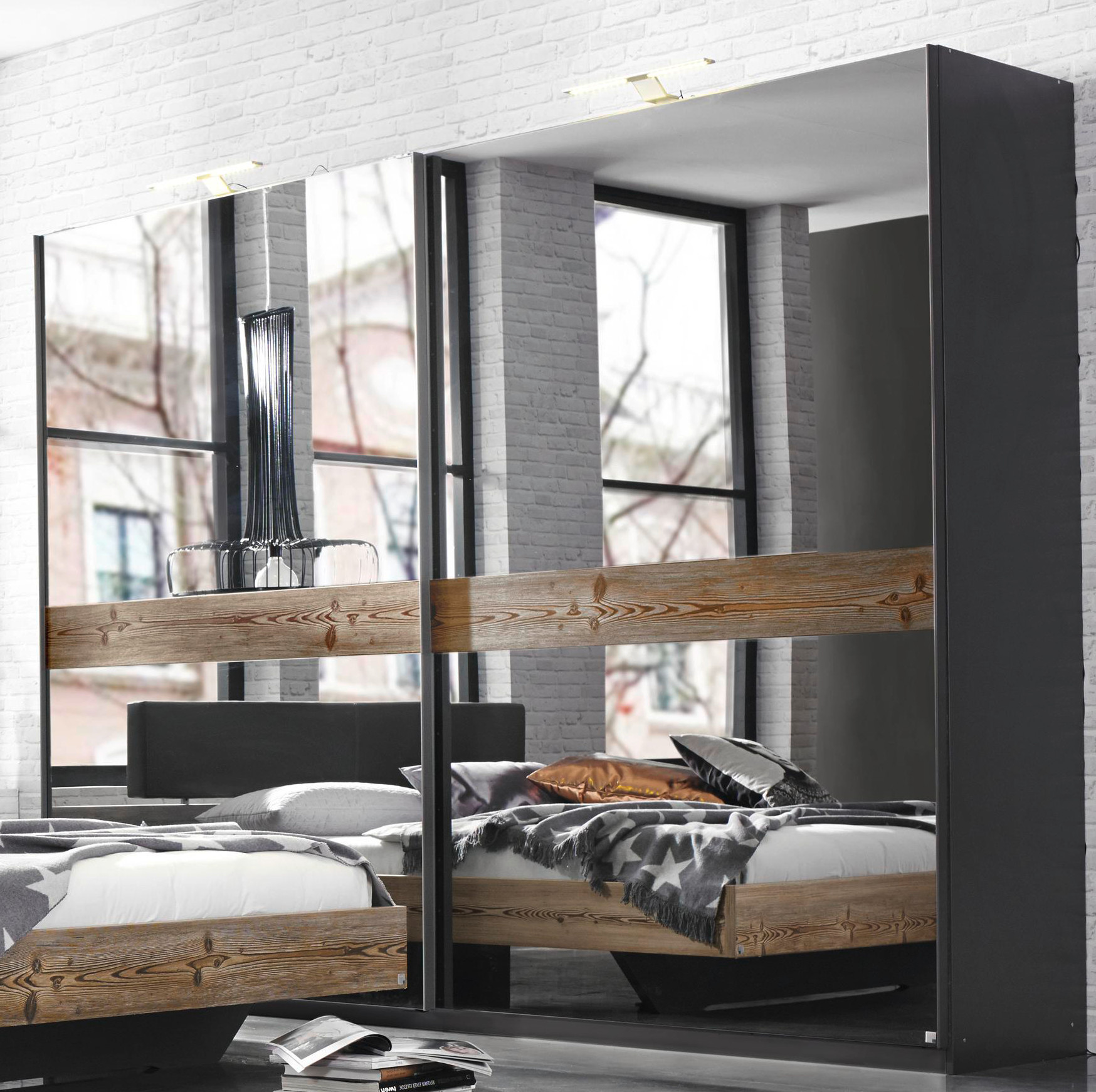 rauch select schwebet renschrank montreal 3 breiten h he 223 cm l rche graphit ebay. Black Bedroom Furniture Sets. Home Design Ideas
