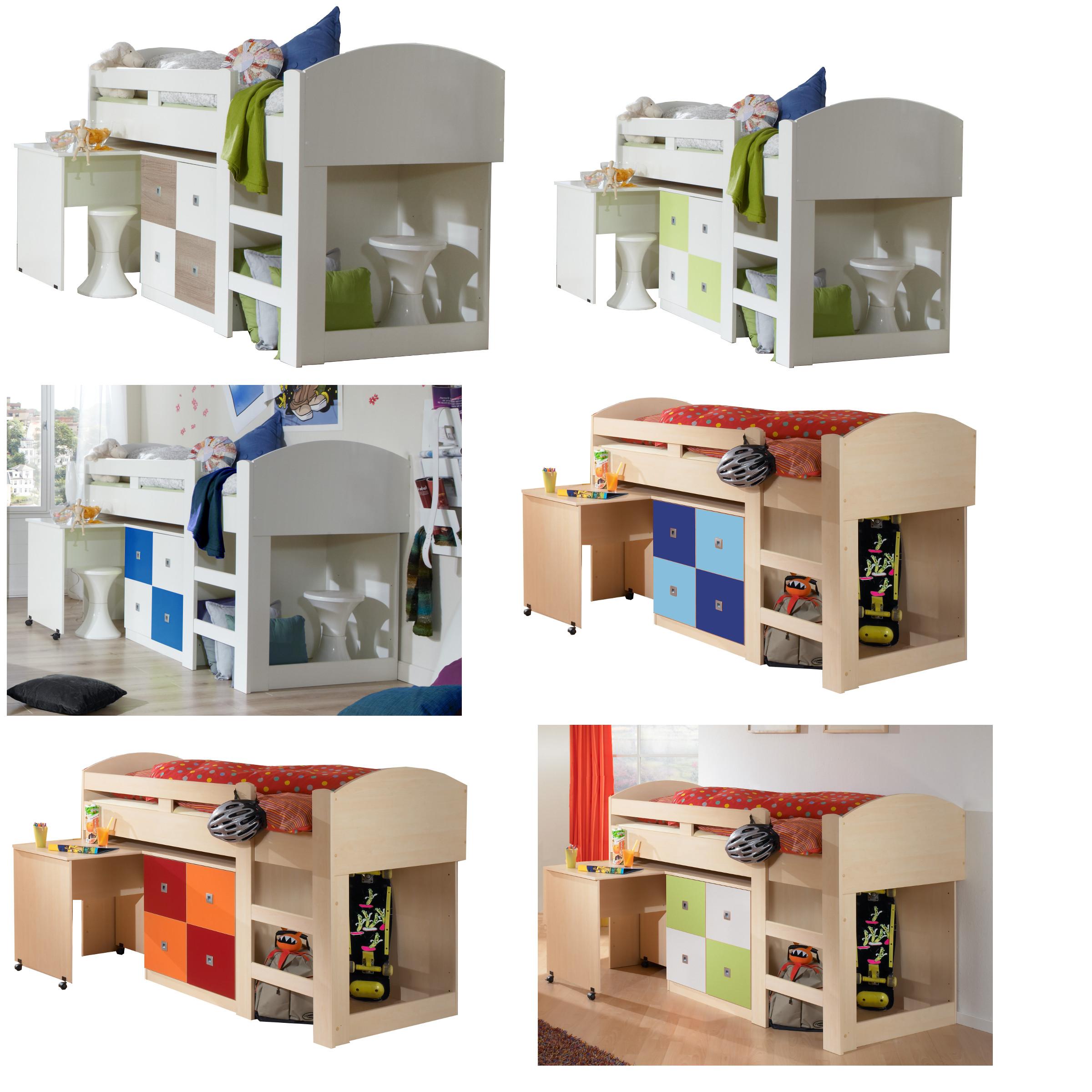 wimex halbhochbett schreibtisch kommode leiter hochbett 6. Black Bedroom Furniture Sets. Home Design Ideas