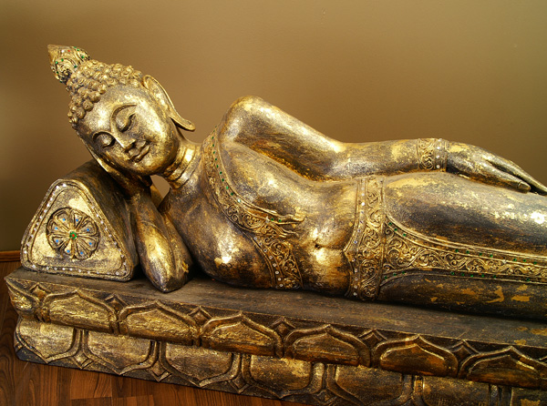 buddha figur liegend holz skulptur schwarzgold 131cm buddhafigur statue 153d ebay. Black Bedroom Furniture Sets. Home Design Ideas