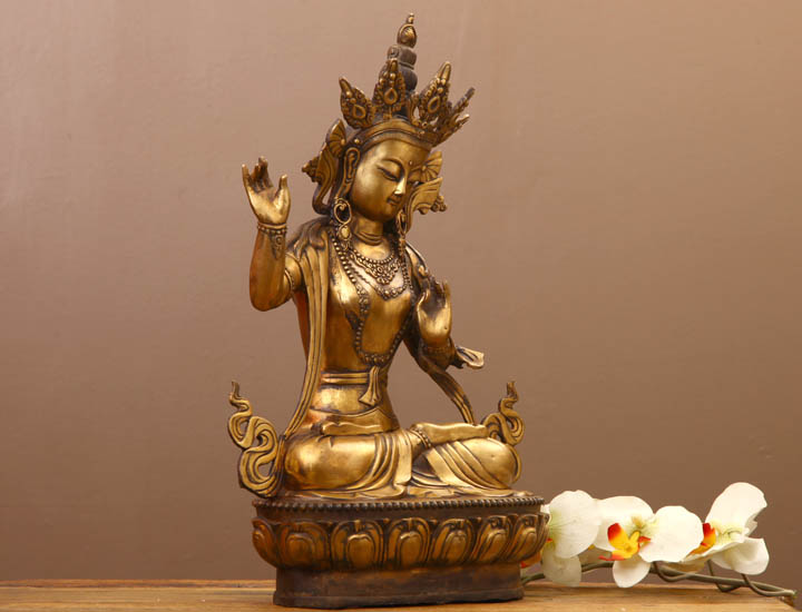 gro e messing tara 50cm buddha skulptur figur statue buddhafigur 558h ebay. Black Bedroom Furniture Sets. Home Design Ideas