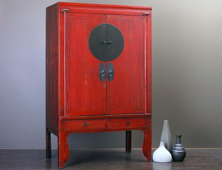 schrank antiker chinesischer hochzeitsschrank rot china. Black Bedroom Furniture Sets. Home Design Ideas