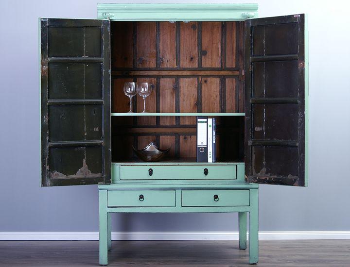 antiker schrank hochzeitsschrank pastellgr n gr n asiam bel fernsehschrank ebay. Black Bedroom Furniture Sets. Home Design Ideas