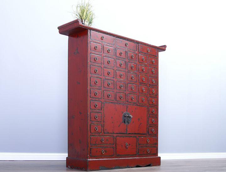 chinesischer apothekerschrank shabby chic rot. Black Bedroom Furniture Sets. Home Design Ideas