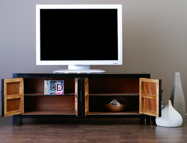 chinesisches lowboard sideboard tv board schwarz. Black Bedroom Furniture Sets. Home Design Ideas
