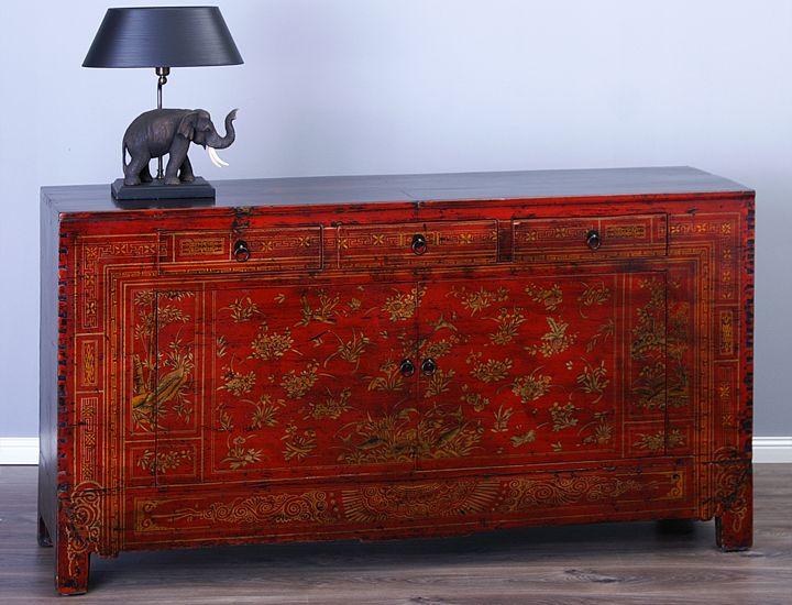 Antikes Sideboard Buffet Anrichte China Rot Antik Wohnzimmer Esszimmer Kche