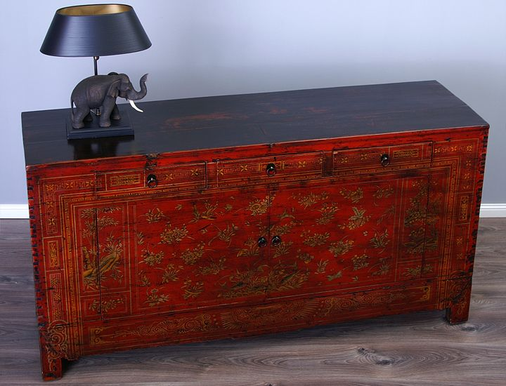 Antikes Sideboard Buffet Anrichte China Rot Antik Wohnzimmer