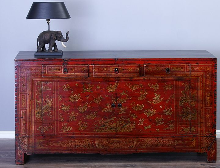 antikes sideboard buffet anrichte china rot antik wohnzimmer esszimmer k che ebay. Black Bedroom Furniture Sets. Home Design Ideas
