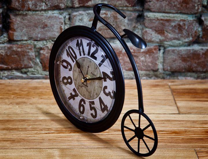 retro uhr tischuhr nostalgie shabby chic metall vintage fahrrad 25cm landhaus. Black Bedroom Furniture Sets. Home Design Ideas