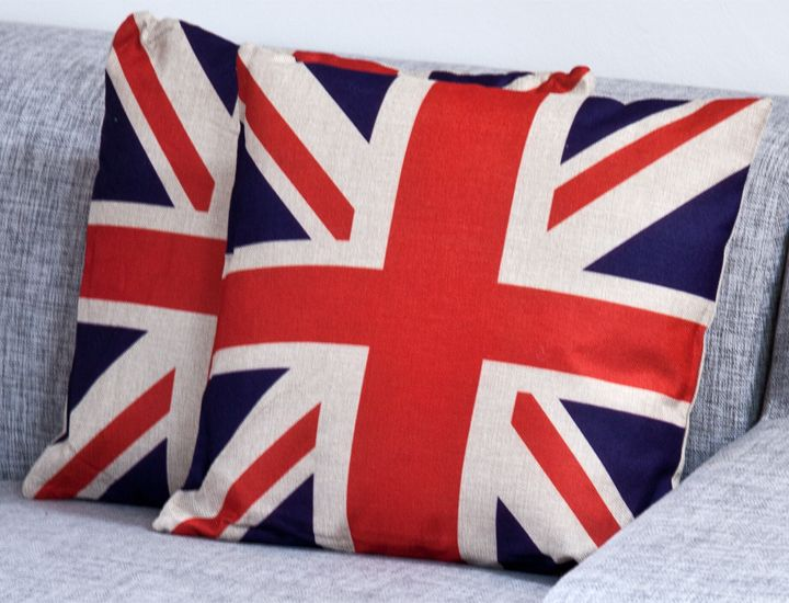 deko kissen 45x45cm mit f llung uk union jack gro britanien england dekokissen ebay. Black Bedroom Furniture Sets. Home Design Ideas