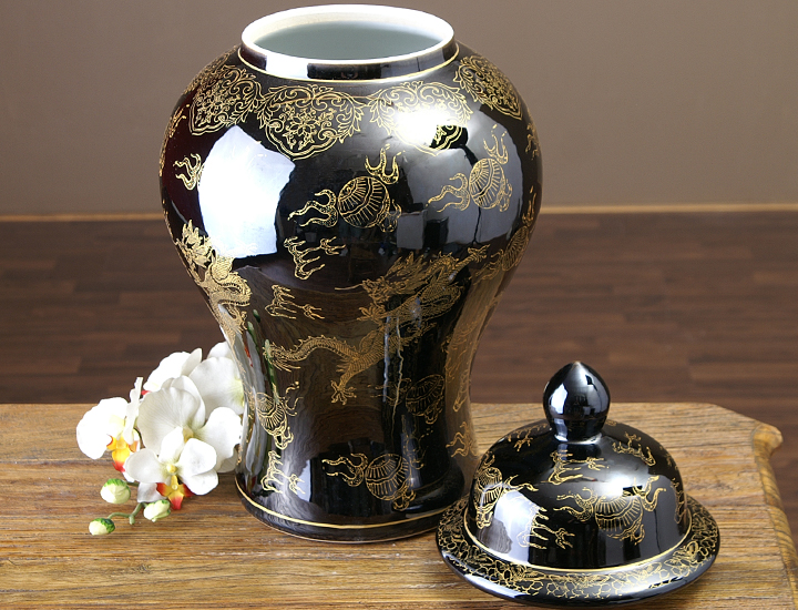 chinesische vase schwarz gold deckelvase drachen ming vase drachenvase drache ebay. Black Bedroom Furniture Sets. Home Design Ideas