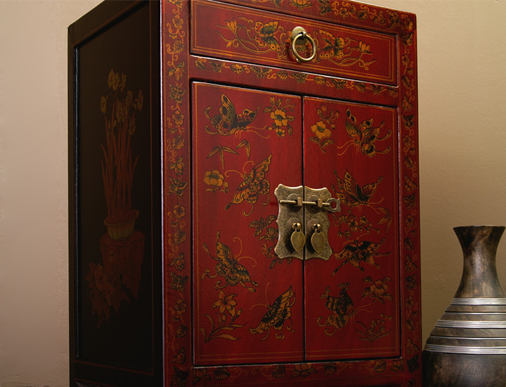 chinesische kommode nachtschrnak china m bel nachttisch rot gold 729d ebay. Black Bedroom Furniture Sets. Home Design Ideas