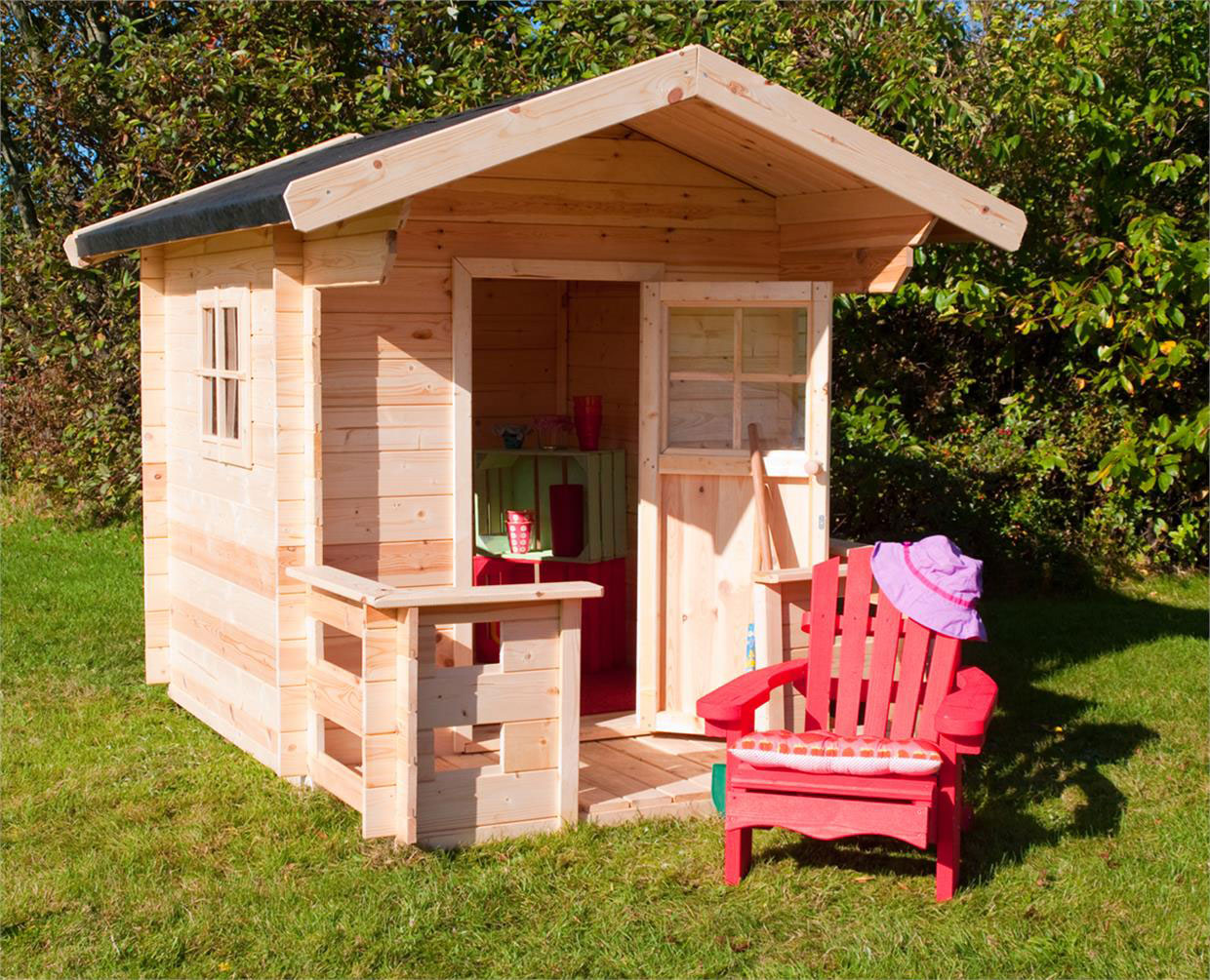 kinderspielhaus jogi mit terrasse aus holz ebay. Black Bedroom Furniture Sets. Home Design Ideas