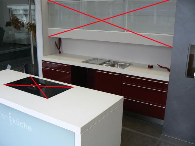 k chenzeile k che mit insel bordeaux hochglanz musterk che aus insolvenz ebay. Black Bedroom Furniture Sets. Home Design Ideas