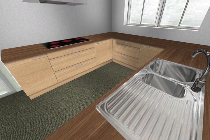 e k cristini k che lackiert eiche und magnolie eckrondell le mans apotheker usw ebay. Black Bedroom Furniture Sets. Home Design Ideas