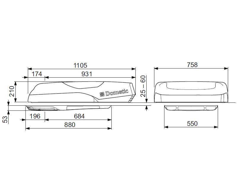 klimaanlage wohnmobil wohnwagen dometic freshlight 1600 mit fernbedienung. Black Bedroom Furniture Sets. Home Design Ideas
