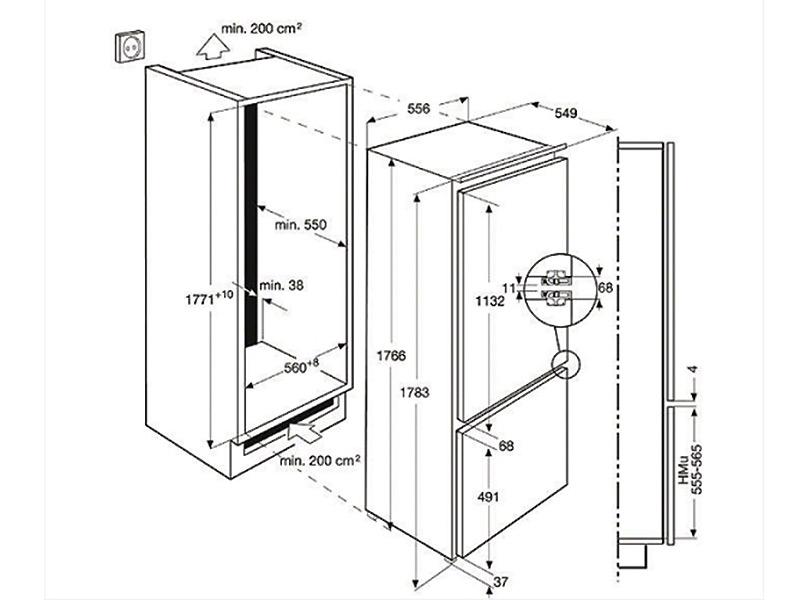 177cm einbau k hl gefrier kombination a longfresh. Black Bedroom Furniture Sets. Home Design Ideas
