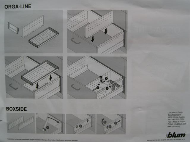blum inneneinteilung orig 209 metall orga line frontauszugsflansch schubladen ebay. Black Bedroom Furniture Sets. Home Design Ideas
