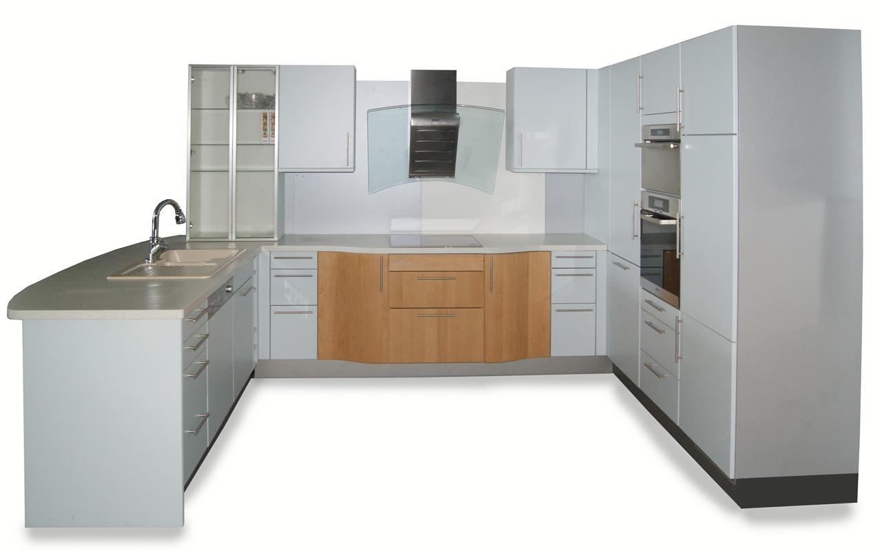u k che front eisblau und buche top qualit t wohnk che einbauk che augsburg ebay. Black Bedroom Furniture Sets. Home Design Ideas