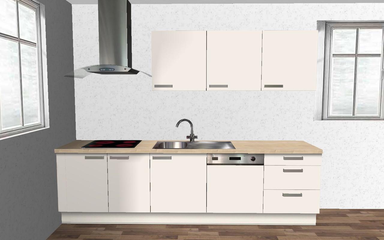 alno wellmann k che 2 zeilig orig 9989 musterk che ovp magnolie 270 240 cm ebay. Black Bedroom Furniture Sets. Home Design Ideas