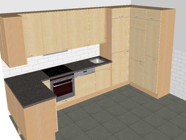 Alno küchen 2014  U-Küche Wellmann ALNO Neu Front Birke begehbarer Schrank Rondell usw.