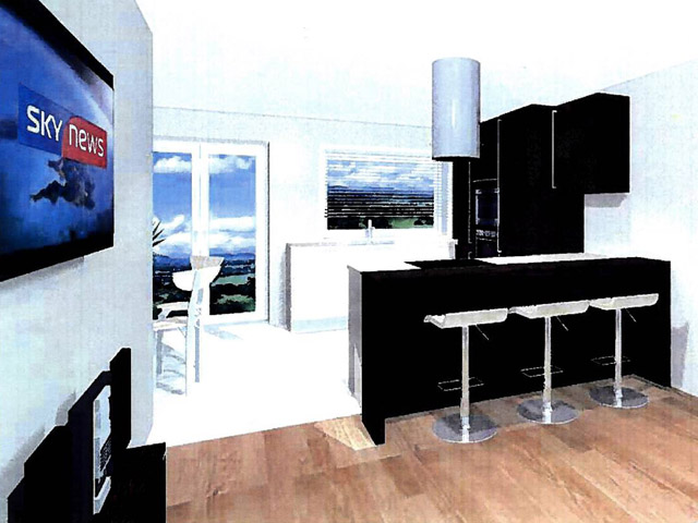l u k che e k k che front camee und eiche piemont grifflos theke ebay. Black Bedroom Furniture Sets. Home Design Ideas