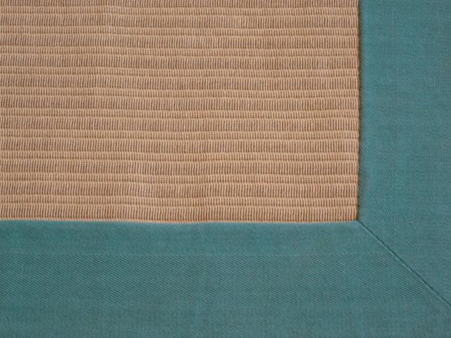 Sisal Teppich mit türkiser Einfassung Läufer Sisal Berber