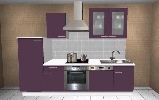 280 cm k chenzeile alno qualit t wellmann elektroger te aubergine ebay. Black Bedroom Furniture Sets. Home Design Ideas