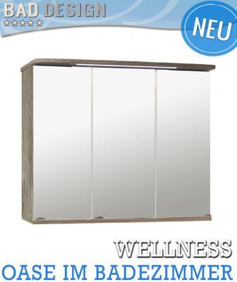 neu badezimmer spiegelschrank eiche grau mit led badm bel bad spiegel badspiegel ebay. Black Bedroom Furniture Sets. Home Design Ideas