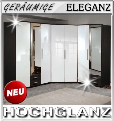 Eckkleiderschrank weiß mit spiegel  NEU* Eckkleiderschrank Hochglanz weiß - Wenge Eckschrank Spiegel ...