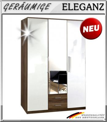 neu eckkleiderschrank hochglanz wei nussbaum eckschrank spiegel kleiderschrank ebay. Black Bedroom Furniture Sets. Home Design Ideas