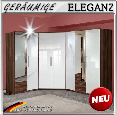 Eckkleiderschrank mit spiegel  NEU* Eckkleiderschrank Hochglanz weiß Nussbaum Eckschrank Spiegel ...