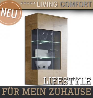 moderne vitrine in eiche s gerau wohnwand h ngeschrank. Black Bedroom Furniture Sets. Home Design Ideas
