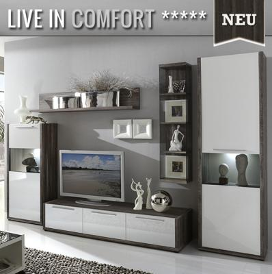 neu moderne wohnwand hochglanz wei encanto eiche. Black Bedroom Furniture Sets. Home Design Ideas
