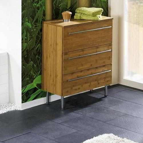 Badschrank bambus  NEU* Exkl. Badezimmer Unterschrank Bambus massiv Badschrank ...