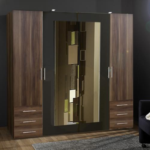 neu 225cm kleiderschrank nussbaum anthrazit spiegel. Black Bedroom Furniture Sets. Home Design Ideas