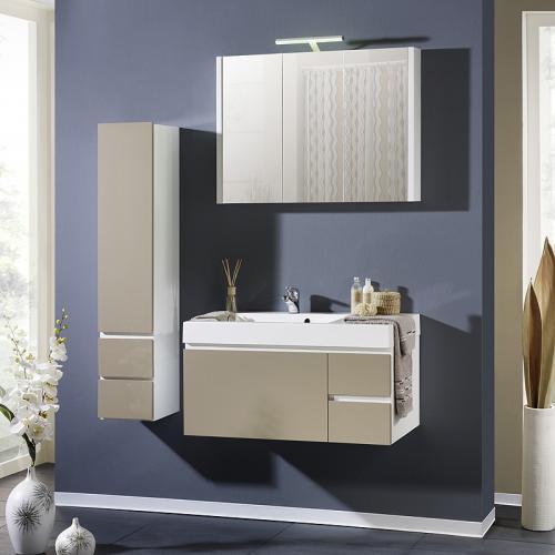 Badmöbel hochglanz  NEU Badezimmer 3-tlg Badmöbel Hochglanz cappuccino Spiegelschrank ...