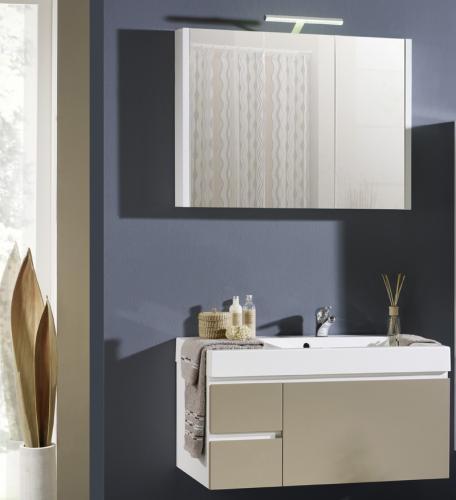 neu 2tlg badezimmer waschplatz hochglanz cappuccino led spiegelschrank badm bel ebay. Black Bedroom Furniture Sets. Home Design Ideas
